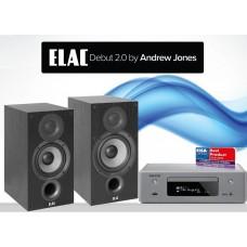 Stereo komplektas Denon RCD-N10  su ELAC B6 V2.0 Debut lentyninėmis kolonėlėmis