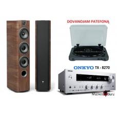Stereo komplektas stiprintuvas ONKYO TX-8270 galingumas  2x190W su kolonėlėm Focal Chorus 726+DOVANA PATEFONAS !