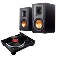 Komplektas Klipsch R-15PM aktyvios lentyninė garso kolonėlė  aktyvios  su USB-DAC su patefonu Audio Technika AT-LP5