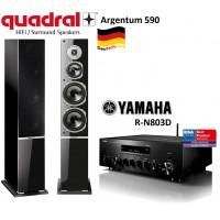 Stereo sistema Quadral Argentum 590 su Yamaha R-N803 tinklo grotuvu stiprintuvu