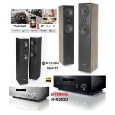 Stereo komplektas stiprintuvas Yamaha R-N303D ir Kolonėlės Pylon Opal 23