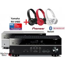 Yamaha RX-V483 5.1 kanalai 160W  USB,  Bluetooth , Spotyfi , wi-fi -  pirkdami stiprintuvą GAUNATE DOVANU Pioneer SE-MJ553BT Bluetooth ausinės !