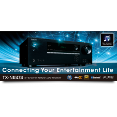 ONKYO TX-NR474 5.1 namų kino stiprintuvas  7x135W  Dolby Atmos® , Ultra HD , DTS:X , USB ,  WiFi , AirPlay , Bluetooth , tinklo grotuvas