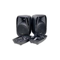 Soundsation BLUEPORT LIGHT stereo  aktyvios kolonėlės su mikšerinių pultu,pajungimo laidais, Bluetooth , USB , SD